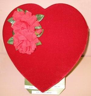 Valentine Chocolates in heart shaped box.