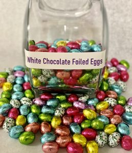 foil covered white chocolate easter eggs