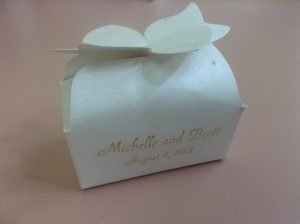 Chocolate Wedding Favors in a box with ribbon