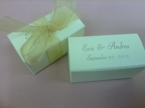 Premium Chocolate Wedding Favors in a gift box.
